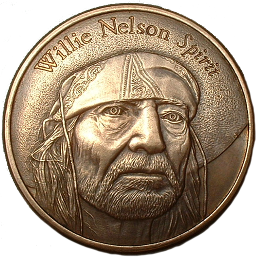 Willie Nelson Portrait - Promotional Piece for Island Records Release of the Album 'Spirit' - Bronze 1.5''